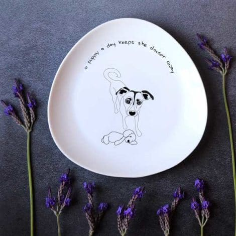 """צלחת מצוירת, צלחת מאוירת - illustrated plate with a drawing of a puppy - dog: """"A puppy a day keeps the doctor away"""""""