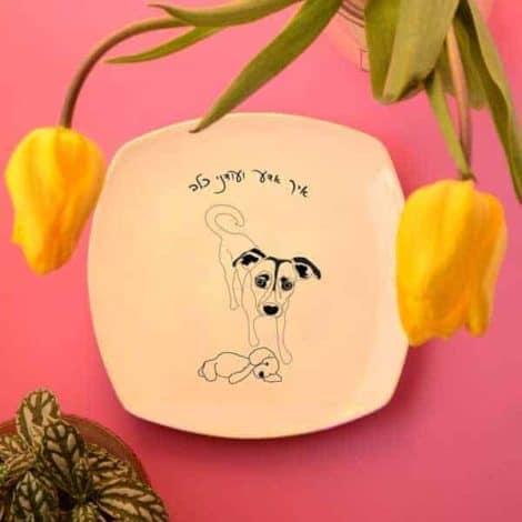 """""""דון"""" - צלחת מאוירת (מצוירת) עם ציור של כלב. """"איך אדע, ועודני כלב"""". Illustrated plate"""