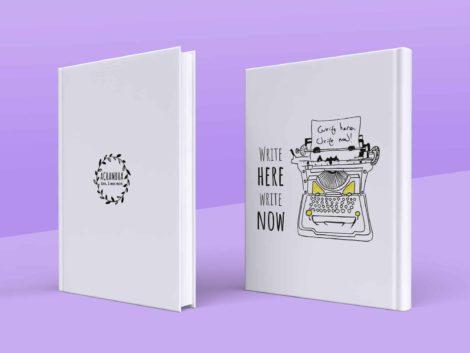 מחברת מאוירת לסופרים, מחברת לכותבים - איור מכונת כתיבה וינטאג' - write here write now